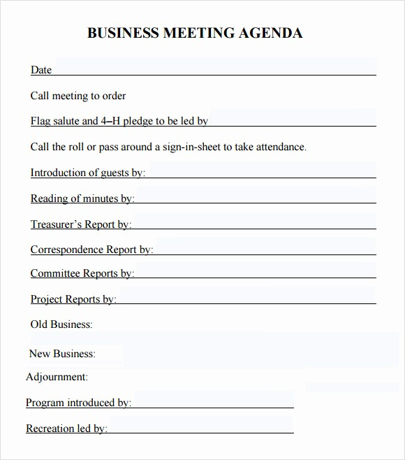 Sample Agendas for Business Meetings Unique 6 Sample Business Meeting Agenda Templates to Download