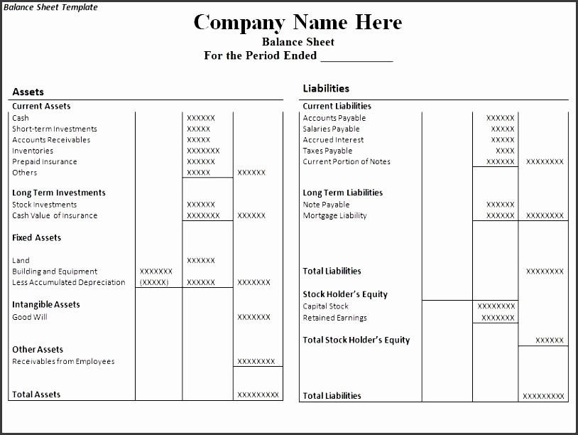 Sample Balance Sheet format Excel Awesome 6 Balance Sheet format In Excel Sampletemplatess