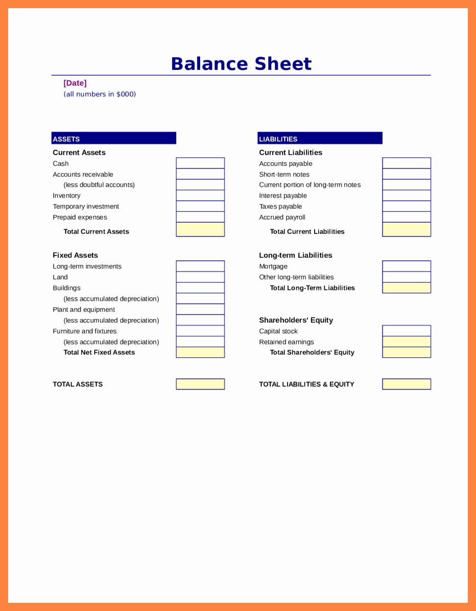 Sample Balance Sheet format Excel Fresh 5 Sample Balance Sheet Excel