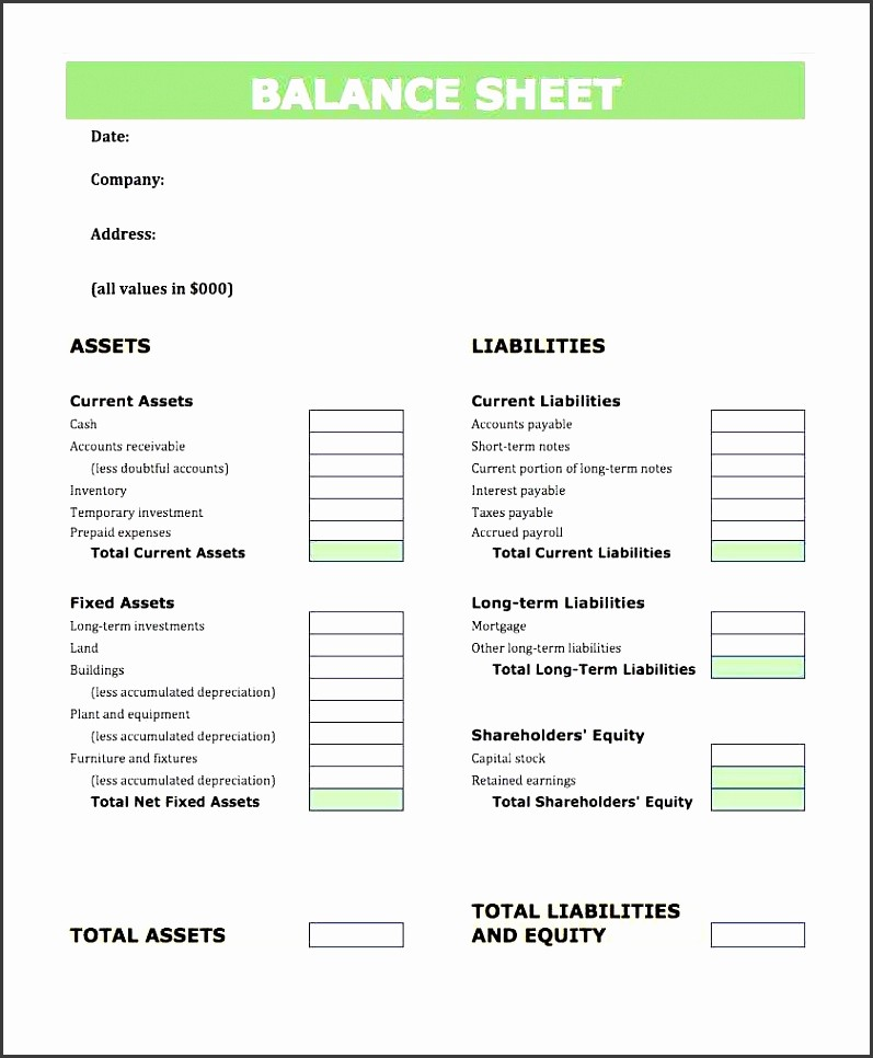 Sample Balance Sheet format Excel Fresh 6 Balance Sheet format In Excel Sampletemplatess