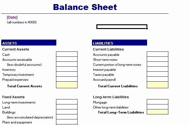 Sample Balance Sheet format Excel Inspirational Balance Sheet Template