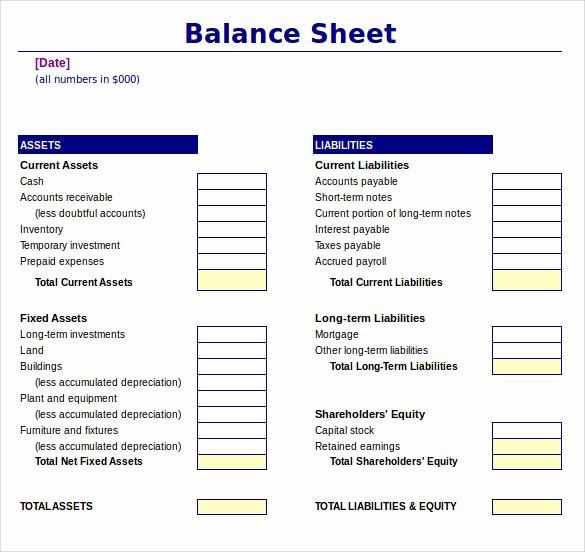 Sample Balance Sheet format Excel Lovely 18 Sample Balance Sheets