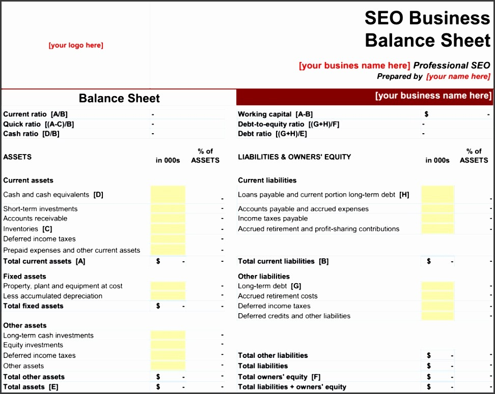 Sample Balance Sheet format Excel Lovely 6 Balance Sheet format In Excel Sampletemplatess