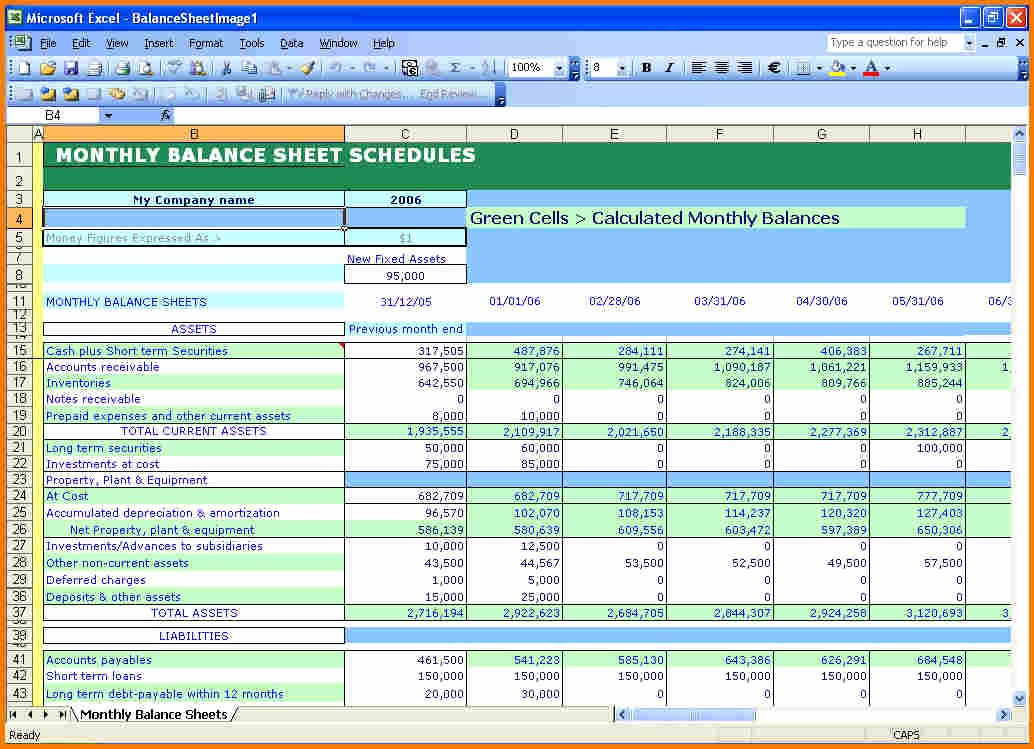 Sample Balance Sheet format Excel Lovely Balance Sheet Example Excel