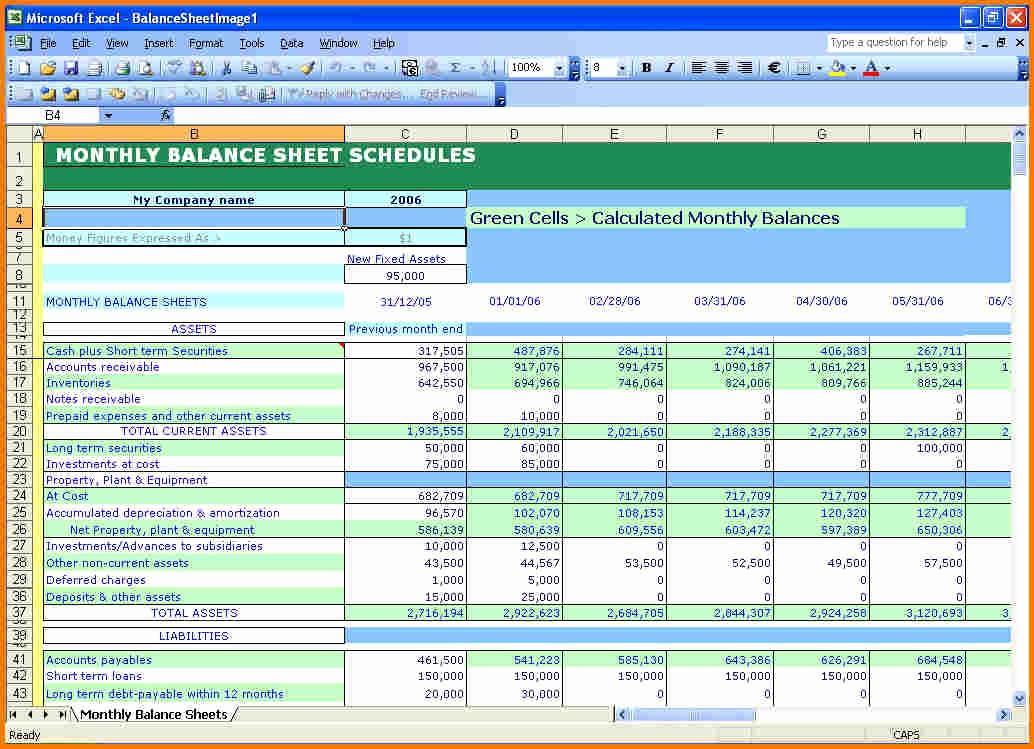Sample Balance Sheet format Excel Lovely Balance Sheet Example Excel