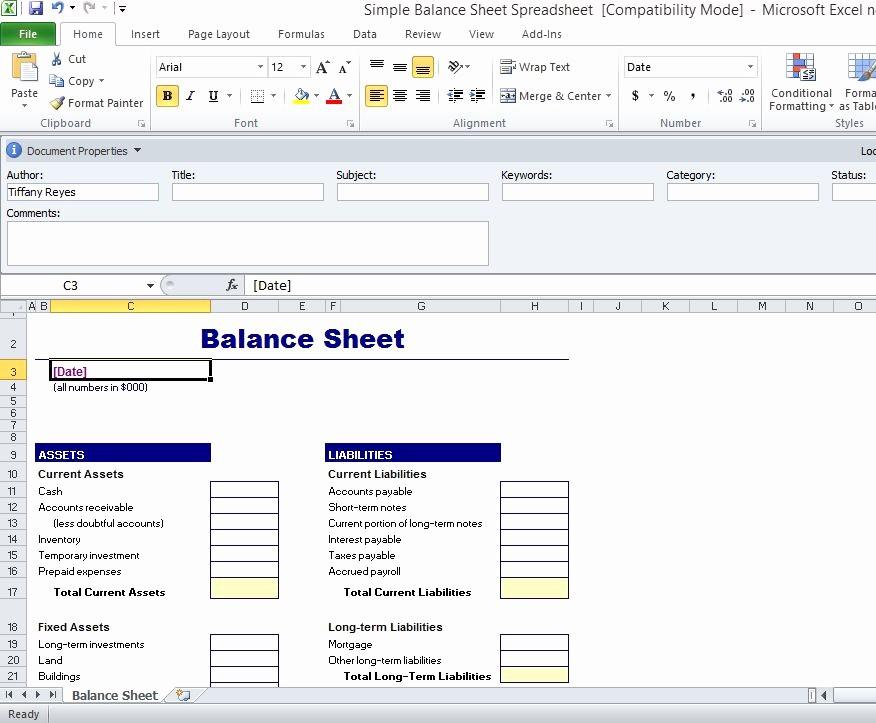 Sample Balance Sheet format Excel Luxury Simple Balance Sheet Template for Excel