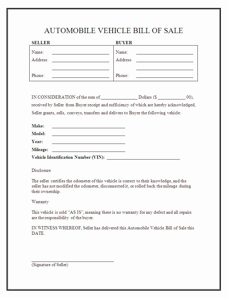 Sample Bill Of Sale Automobile Beautiful Free Printable Car Bill Of Sale form Generic