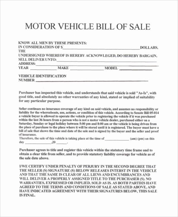 sample bill of sale vehicle