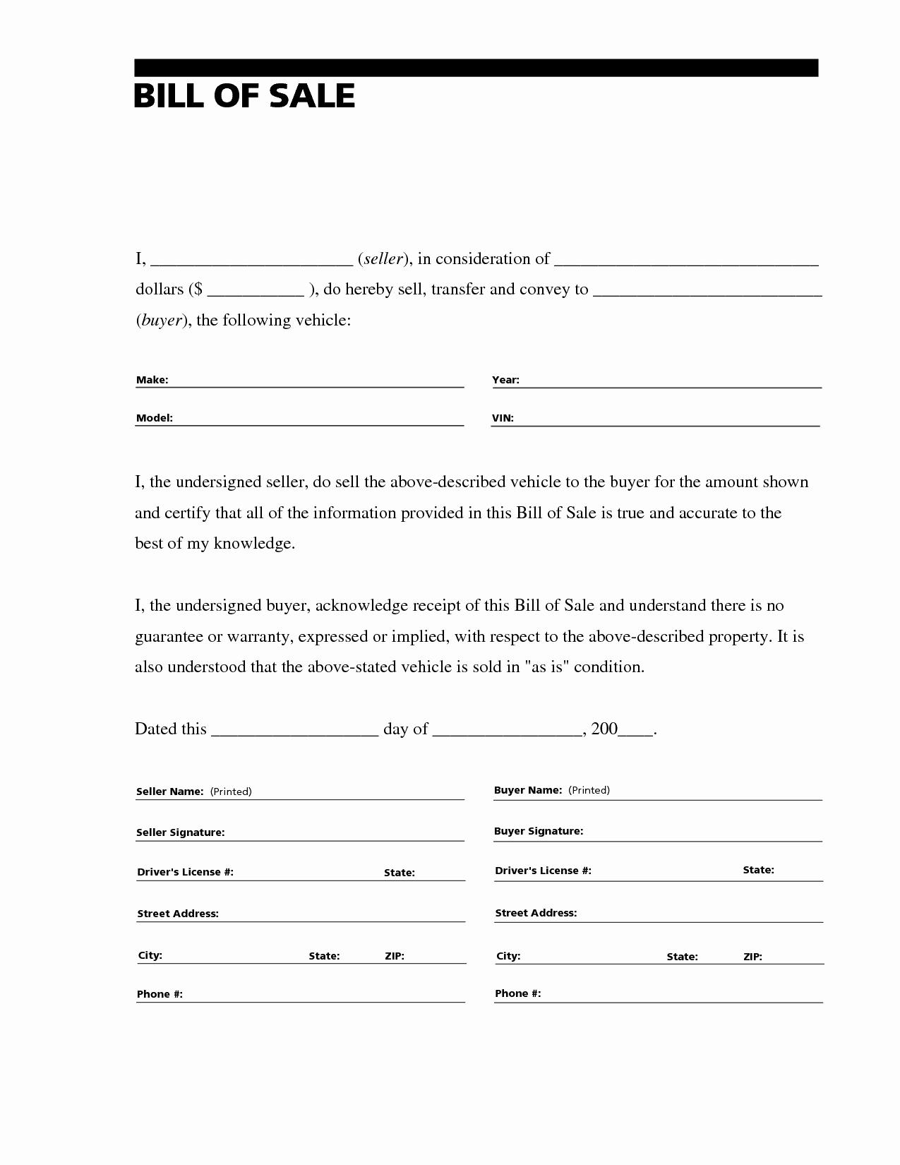 Sample Bill Of Sale Automobile Fresh Printable Sample Free Car Bill Of Sale Template form