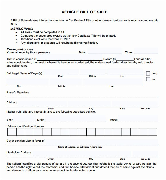 Sample Bill Of Sale Automobile Unique Vehicle Bill Of Sale Template 14 Download Free