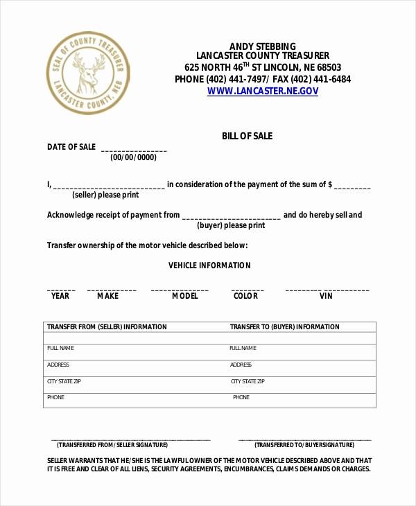 Sample Bill Of Sale Motorcycle Elegant Sample Motorcycle Bill Of Sale form 7 Free Documents In
