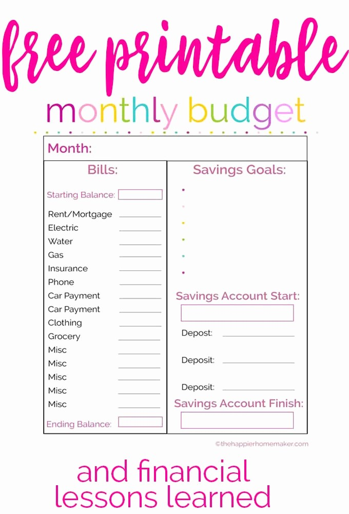 Sample Budget Template for Teenager Best Of Free Monthly Bud Printable