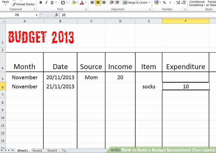 Sample Budget Template for Teenager Best Of How to Build A Bud Spreadsheet Teenagers 13 Steps