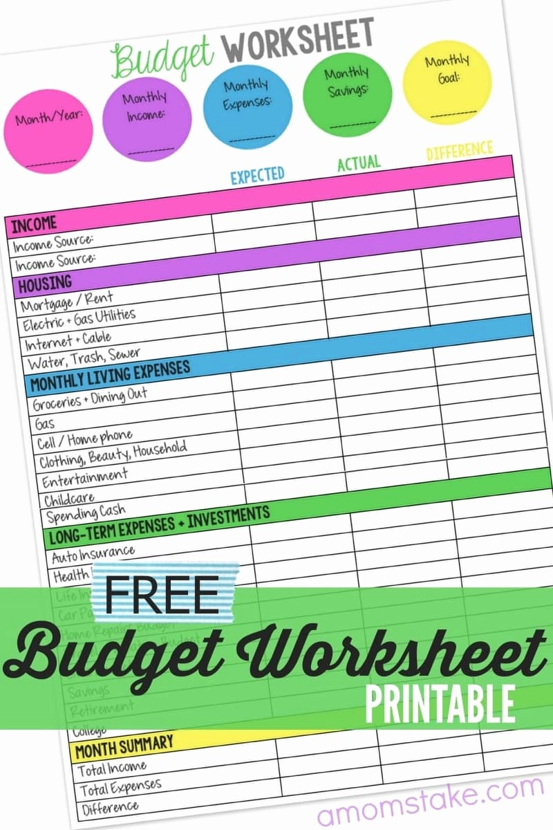 Sample Budget Template for Teenager Elegant Free Bud Worksheet Printables Best Photos Of Free
