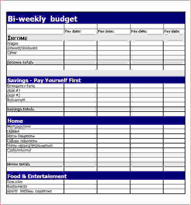 Sample Budget Template for Teenager New 7 Bi Weekly Bud Template