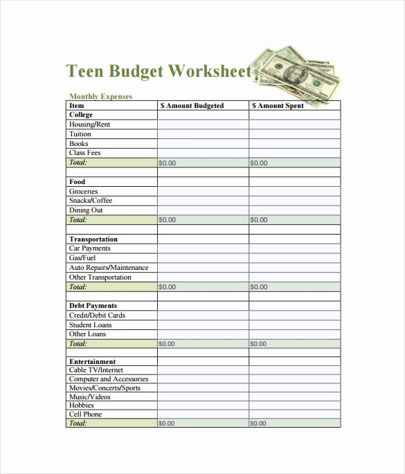 Sample Budget Template for Teenager Unique Bud Spreadsheet Template 3 Free Excel Documents