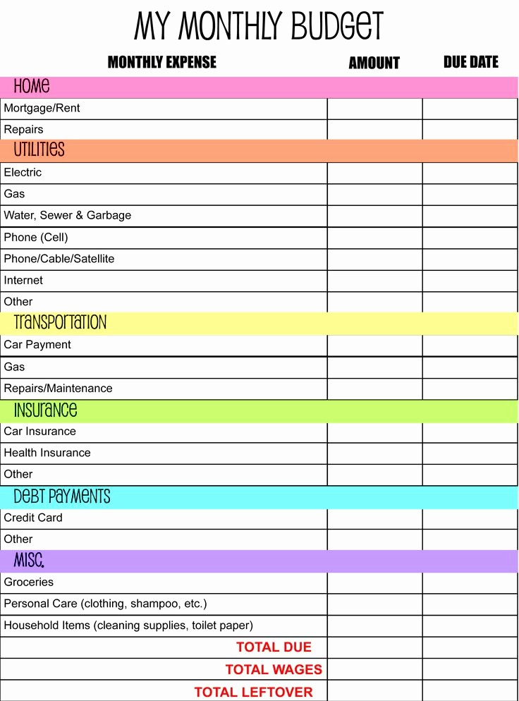 Sample Budget Template for Teenager Unique Monthly Bud Planner Template