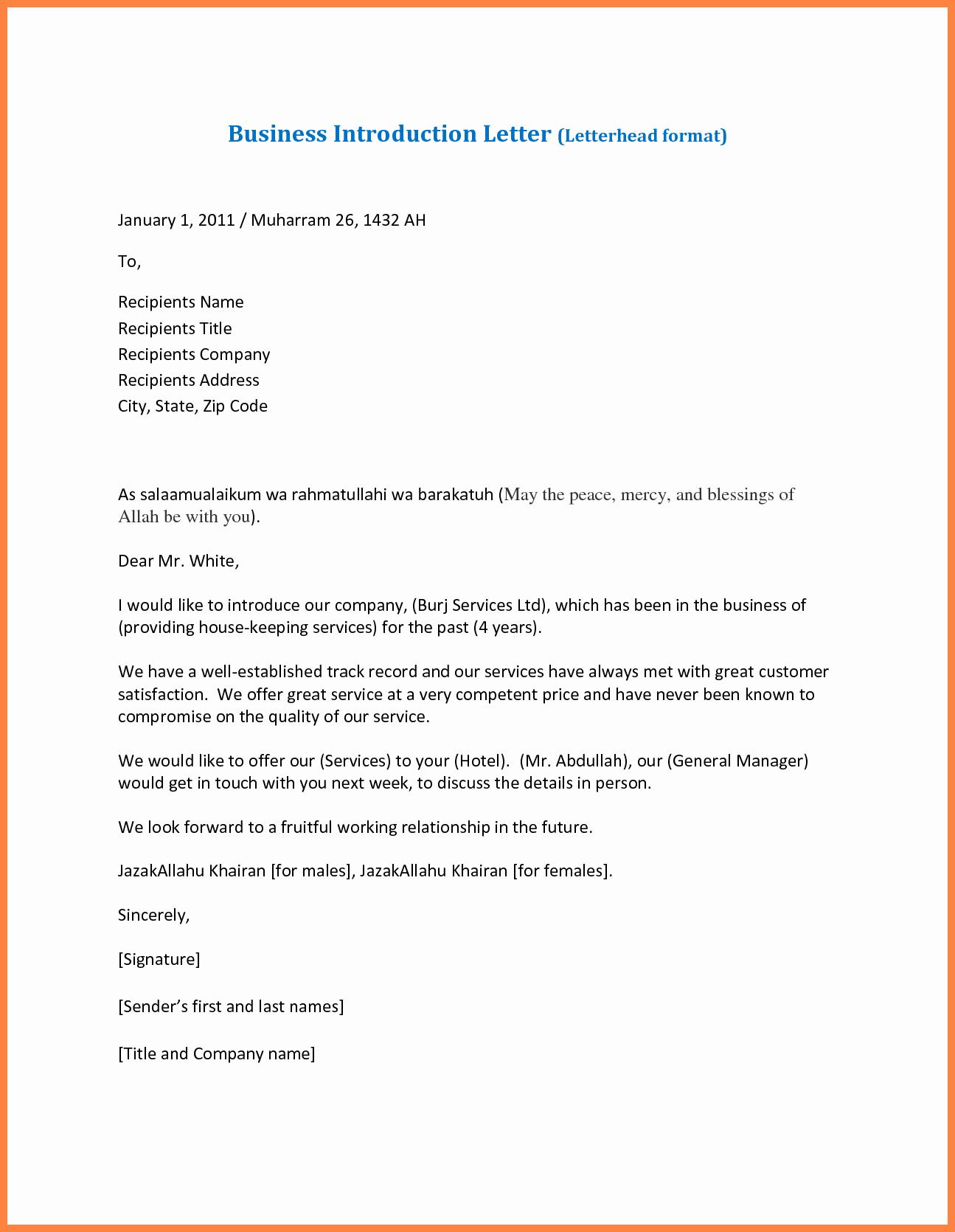 Sample Business Letter On Letterhead Inspirational 7 Pany Business Introduction Letter Sample