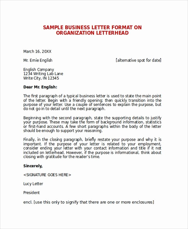 Sample Business Letter On Letterhead New 8 Business Letter formats – Samples Examples Templates