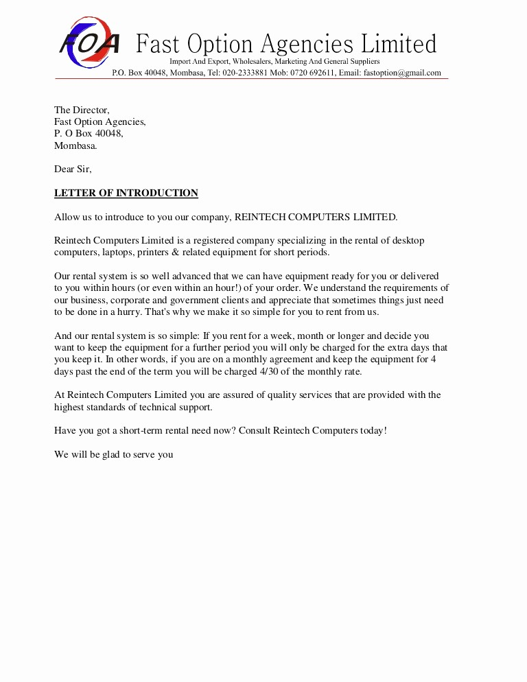 Sample Business Letters to Customers Best Of Sample Business Introduction Letter
