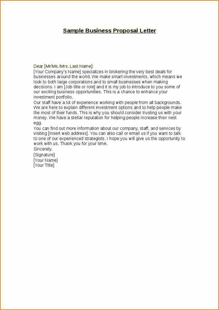 Sample Business Letters to Customers Lovely 3 Business Proposal Letter