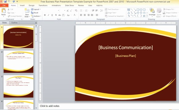 Sample Business Plan Presentation Ppt Luxury Free Business Plan Presentation Template for Powerpoint