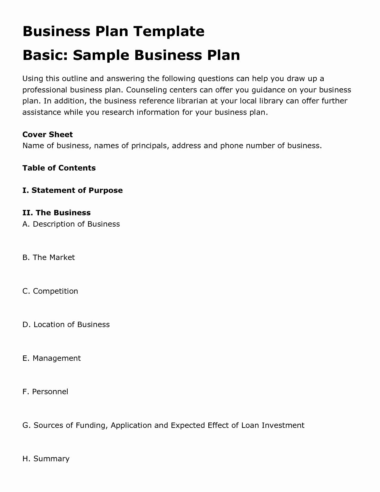 Sample Business Plan Templates Free Beautiful Free Printable Business Plan Template form Generic