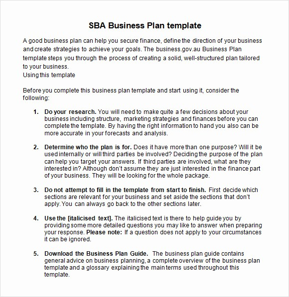 Sample Business Plan Templates Free Inspirational 9 Sample Sba Business Plan Templates