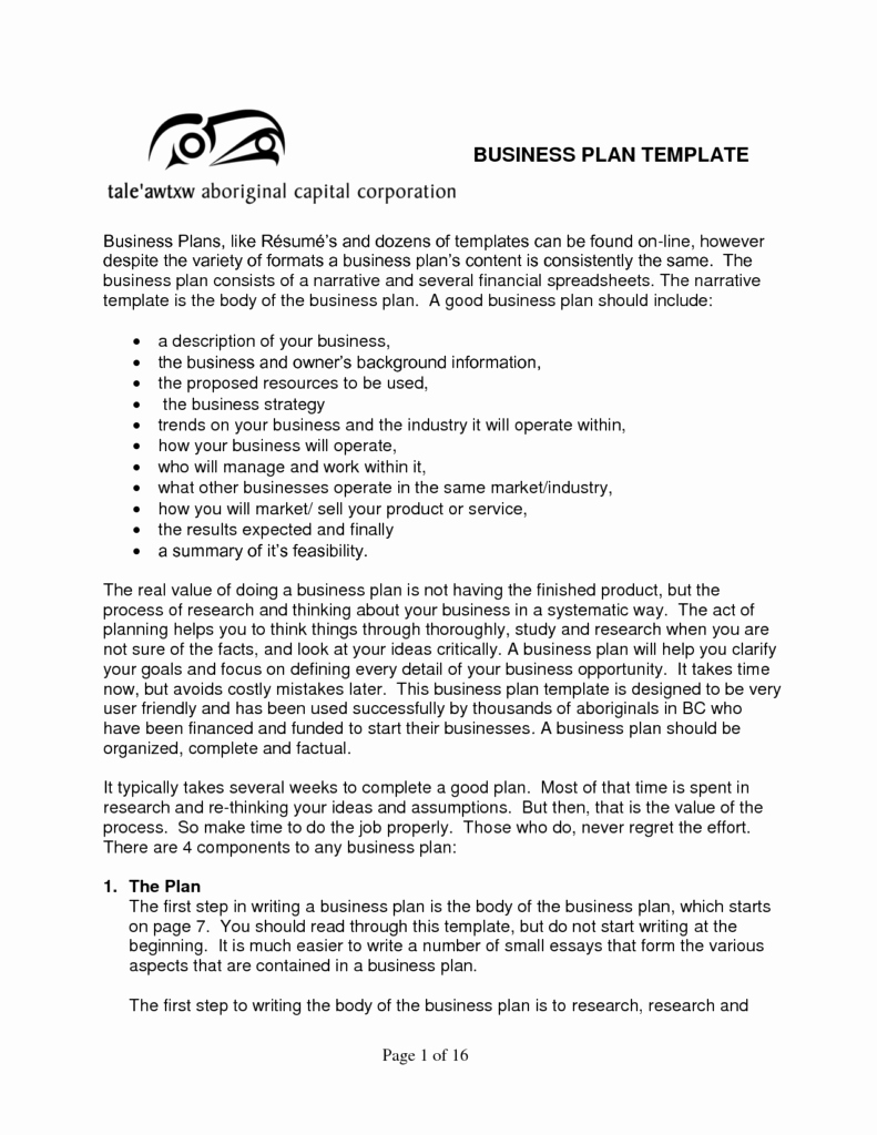Sample Business Plan Templates Free Luxury Free Business Plan Template