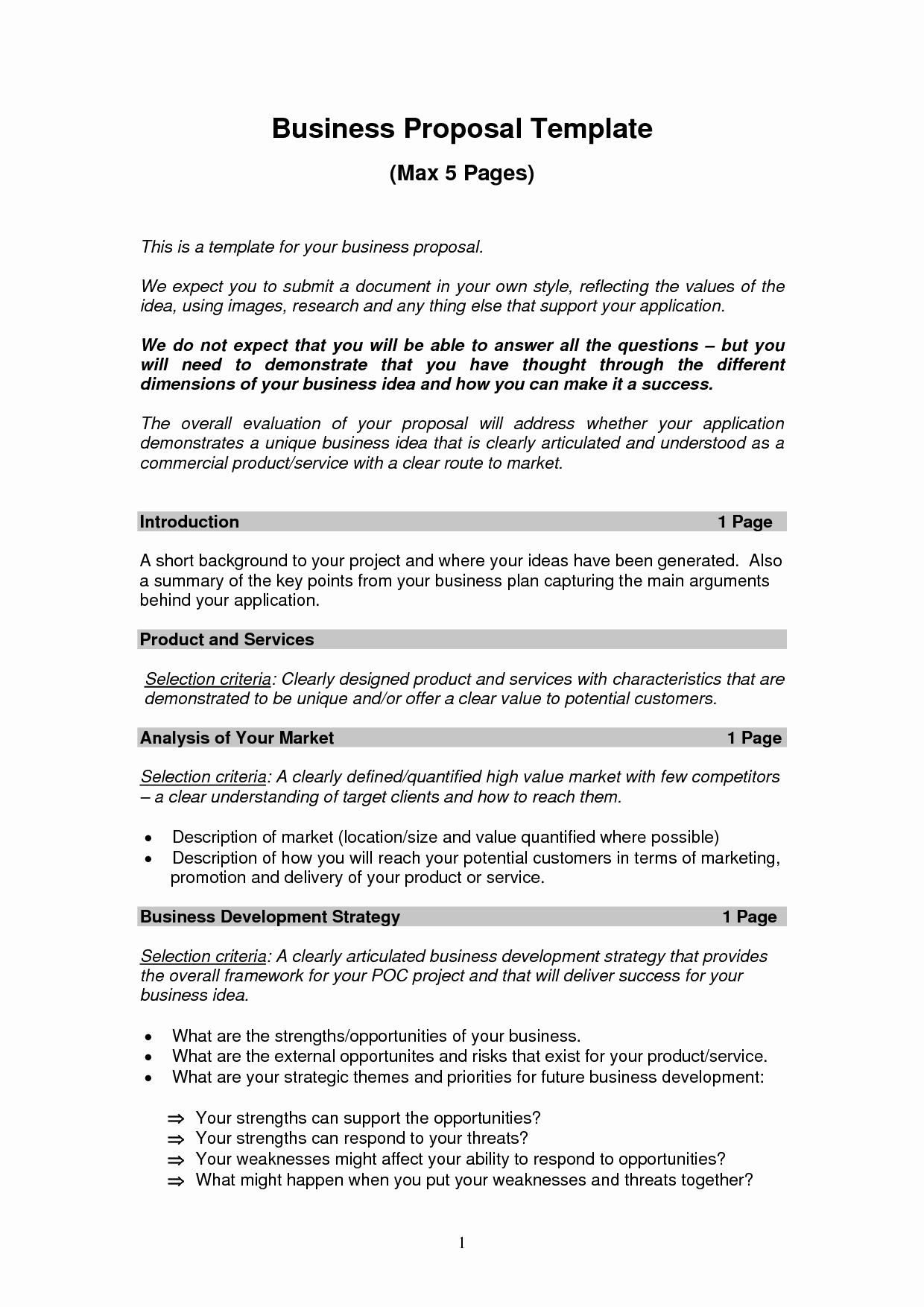 Sample Business Plan Templates Free Unique Printable Sample Business Proposal Template form