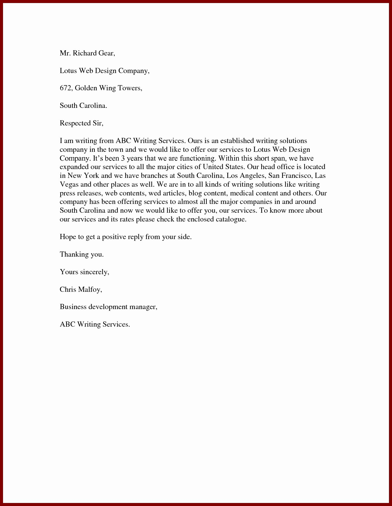Sample Business Proposal for Services Inspirational Letter to Fer Services