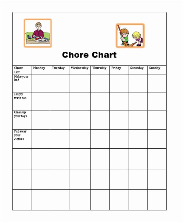 Sample Chore Charts for Families Awesome 9 Sample Chore Charts – Free Sample Example format