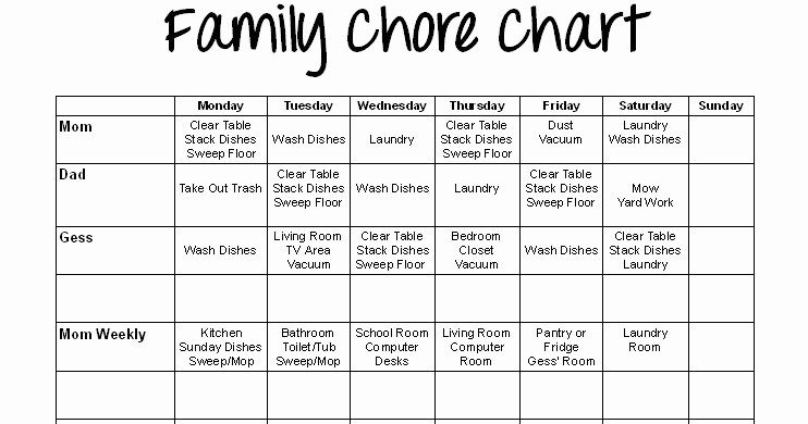 Sample Chore Charts for Families Inspirational Special Connection Homeschool Printable Family Chore Chart