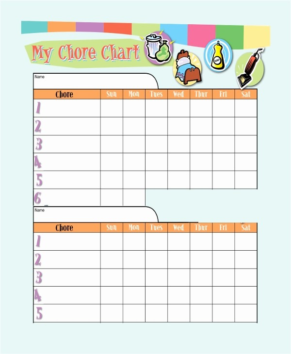 Sample Chore Charts for Families Lovely 19 Sample Chore Charts