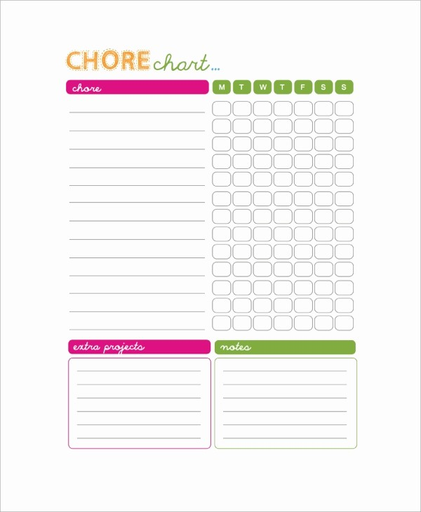Sample Chore Charts for Families New 9 Sample Chore Charts
