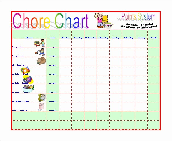 Sample Chore Charts for Families Unique 11 Chore Chart Template Free Sample Example format