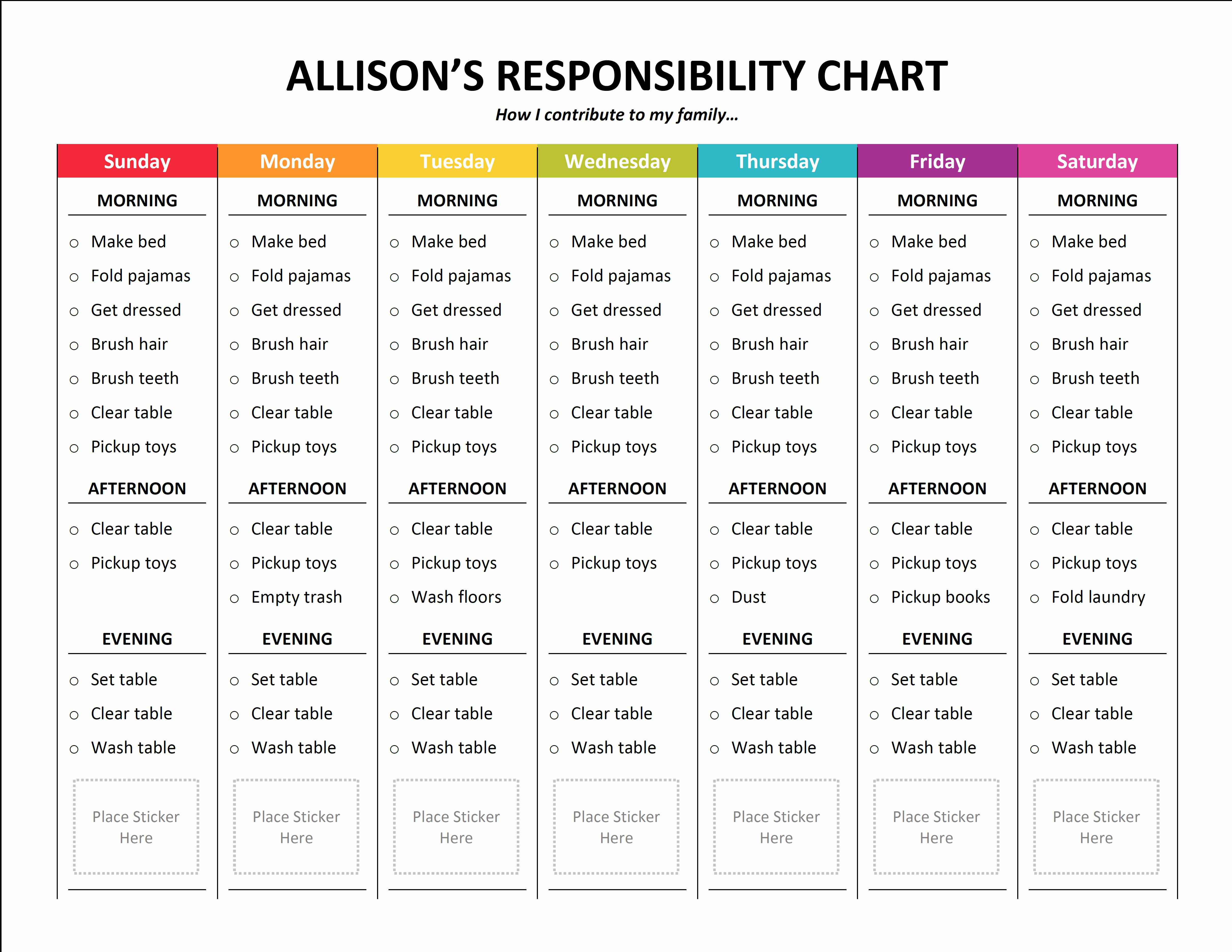 Sample Chore Charts for Families Unique Chore Chart