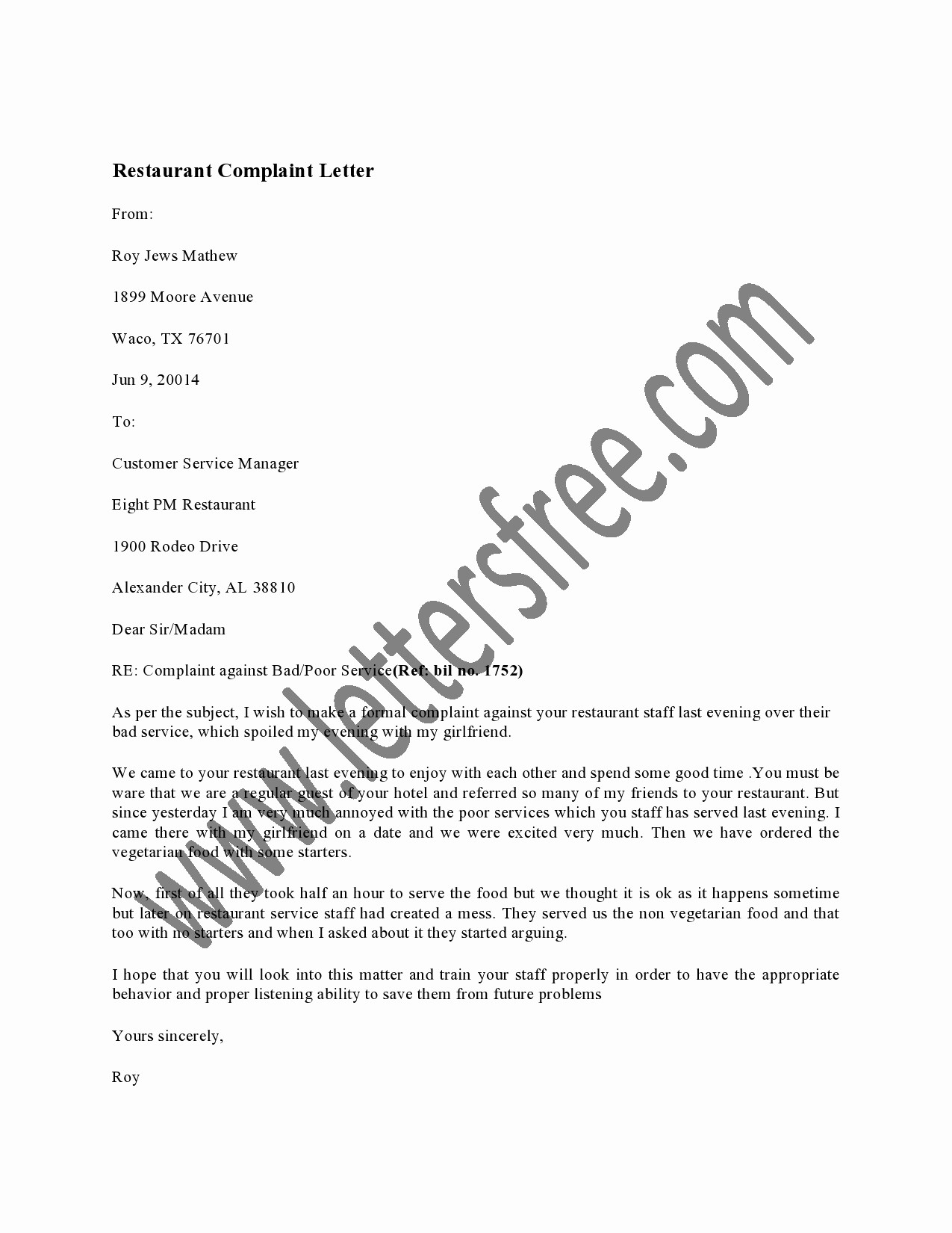Sample Complaint Letters to Airlines Awesome Sample Customer Plaint Letter Airline