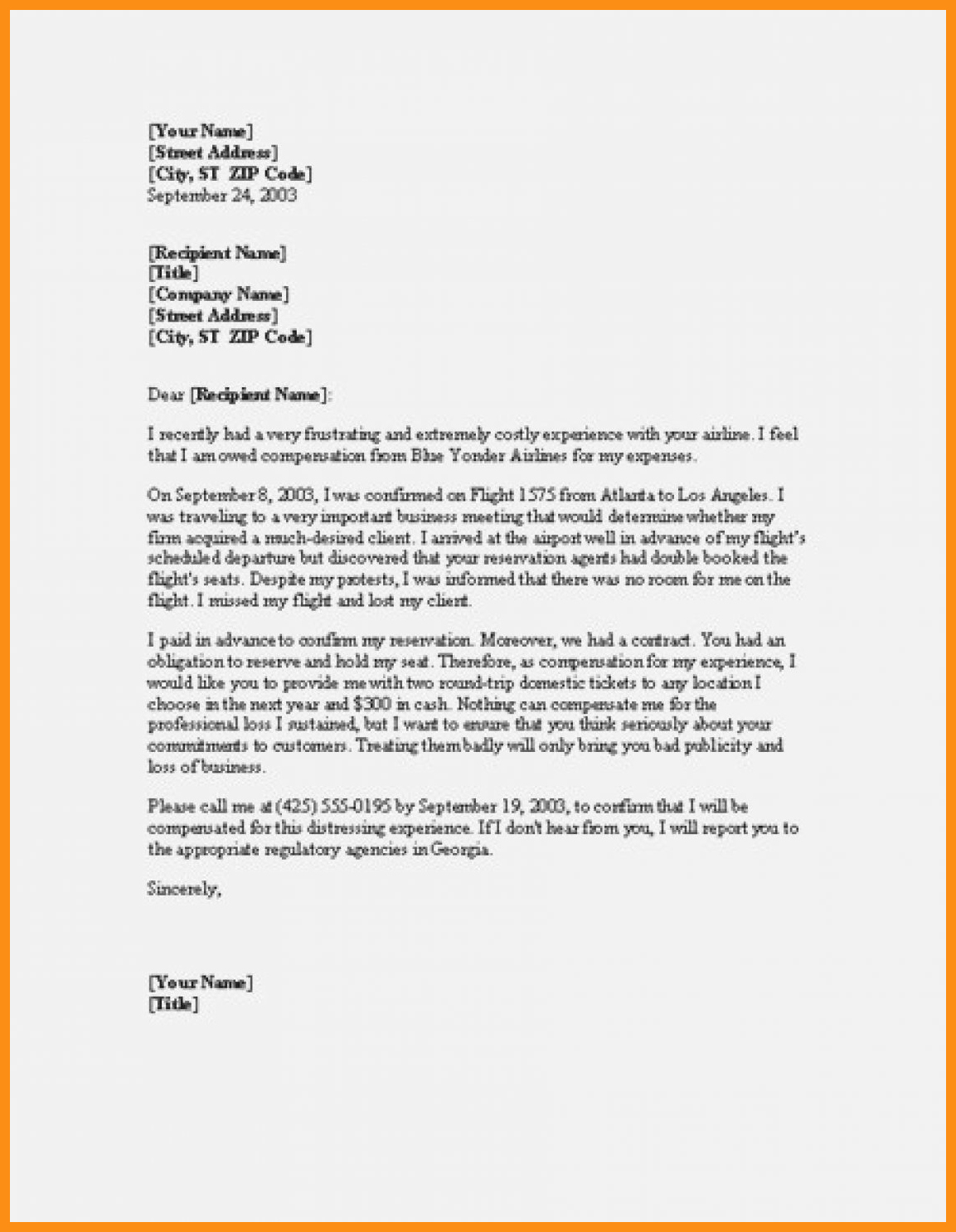 Sample Complaint Letters to Airlines Luxury 9 10 Sample Plaint Letter to Airline