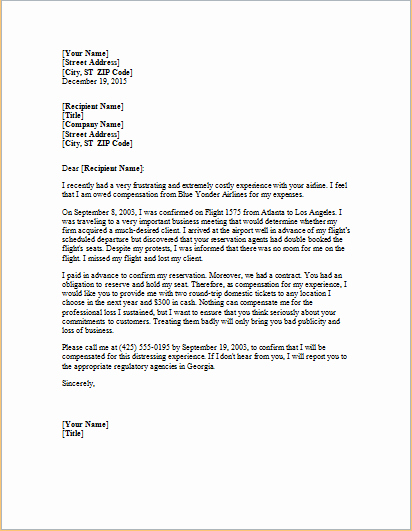 Sample Complaint Letters to Airlines Luxury Sample Customer Plaint Letter Airline