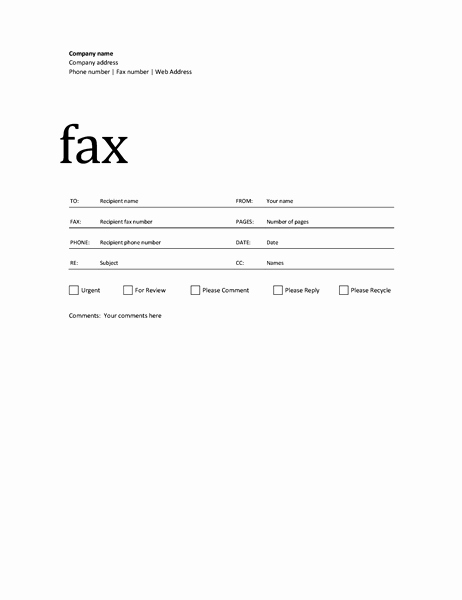 Sample Fax Cover Sheet Word New 50 Free Fax Cover Sheet Templates [ Word Pdf ]