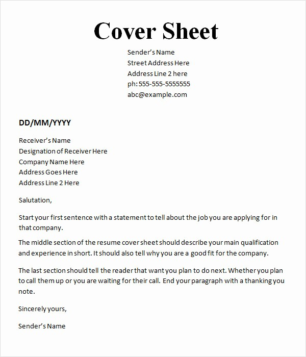 Sample Fax Cover Sheets Template Unique 10 Cover Sheet Templates