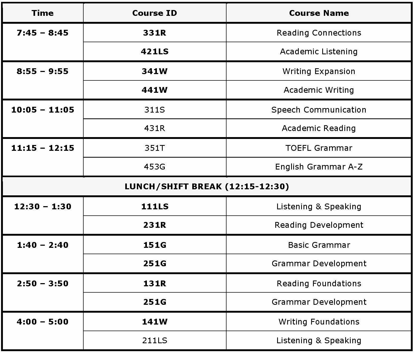 Sample High School Class Schedule Awesome Academic English Program