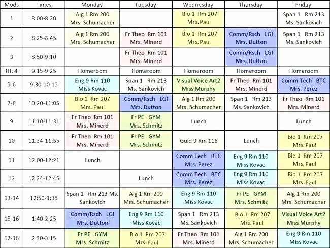 Sample High School Class Schedule Awesome High School Block Schedule Template – Harriscateringfo