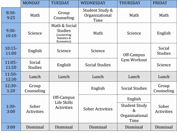 Sample High School Class Schedule Awesome Horizon High School