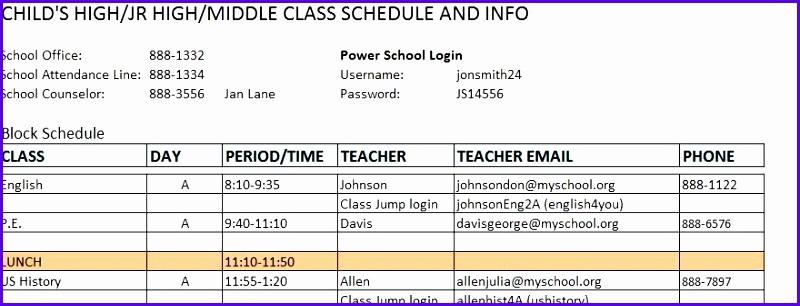 Sample High School Class Schedule Beautiful 6 Excel Class Schedule Template Exceltemplates