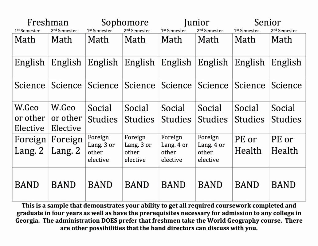 Sample High School Class Schedule Beautiful Sample 4 Year Schedule Alan C Pope High School Band