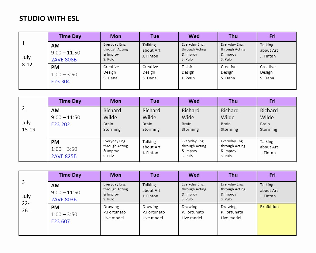 Sample High School Class Schedule Beautiful School Of Visual Arts Sva
