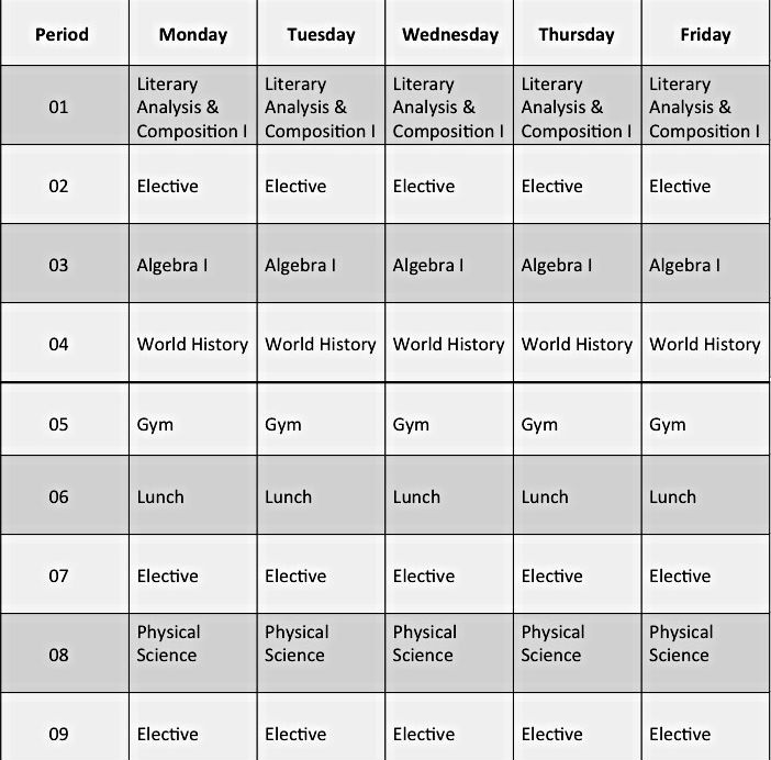 Sample High School Class Schedule Fresh High School Block Scheduling Examples Sprayberry High
