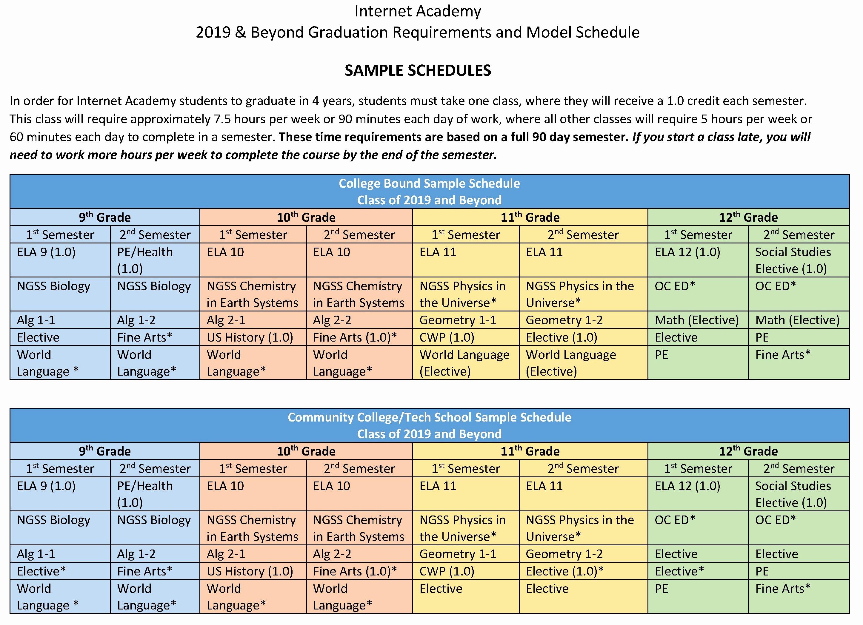 Sample High School Class Schedule Inspirational Class Of 2019 Beyond Sample Schedule